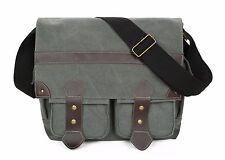Canvas Messenger Bag 14 inch Laptop Bag Book Bag School Bag - Travel Bag