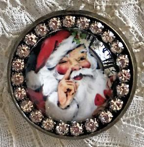SANTA Glass Rhinestone BROOCH Lapel Scatter Pin Christmas Mid Century Card