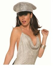 5ff5591b07a 70s Disco Hat Retro Police Officer Silver Rhinestone Style Costume Accessory