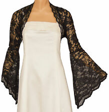 Black Lace Long Bell Sleeve Bolero Size 16