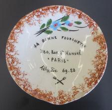 """Vintage Vallauris La Bonne Fourlhette Paris Resturant Painted 5"""" Bowl Dish"""