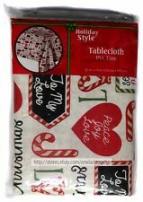 """HOLIDAY STYLE* 52"""" x 70"""" CHRISTMAS TABLECLOTH Flannel Back PVC FREE Candy Canes"""