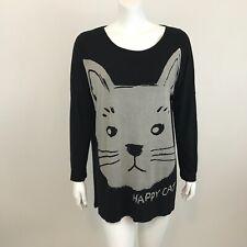d6c65b8ea Allegra K Oversized Knit Top Shirt Size S Happy Cat Long Sleeve Black  Stretch