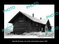 OLD LARGE HISTORIC PHOTO OF MANVILLE WYOMING, THE RAILROAD DEPOT STATION c1960