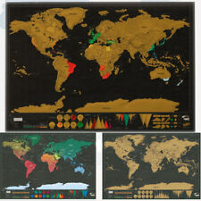 Deluxe Travel Edition Scratch Off World Map Poster Journal Log Luxury Gift