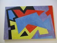 36 INCH GERALD ROWLES PAINTING EXPRESSIONIST ABSTRACT MODERNIST CUBISM CUBIST