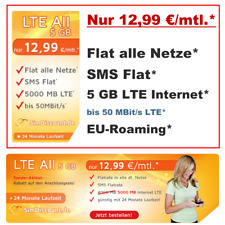 Handyvertrag mit Internet Flat 5GB LTE Simkarte Allnet Flat Vertrag ohne Handy
