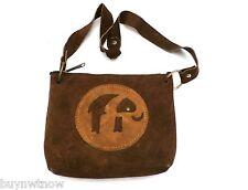 Vintage Brown Suede Hippie Shoulder Bag  Purse Elephant Motif 1970s Women's