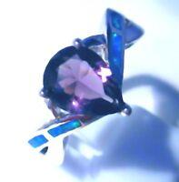 "GORGEOUS BLUE FIRE OPAL/AMETHYST RING UK Size ""T"" US 10.5"