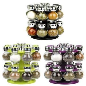 Rotating Revolving Plastic 16 Jar Spice Rack Storage Glass Jars & Chrome Lids