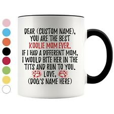 Personalized Koolie Dog Mom Coffee Mug, German Koolie Owner Women Gift