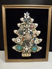 Vintage Framed Rhinestone Jewelry Art Christmas Tree Picture One of a Kind