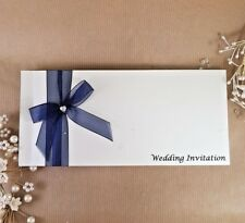 cheque book style wedding invitation & envelope with Navy ribbon bow trim (Dawn)