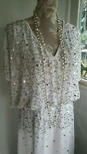 Vtg 1920,s style Downton Peaky white beaded sequin wedding prom dress size 16 uk