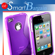 New Purple Soft Gel TPU Cover Case For iPhone 4G + Film
