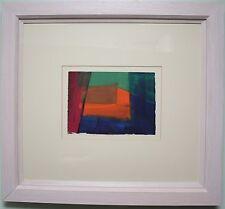 Pintura al óleo originales azul y naranja abstracto por artista irlandés Harry Reid hrua