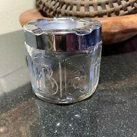 Barbasol Glass Jar Advertising Snap on Chrome Flip Top Lid Barber Shop Ashtray