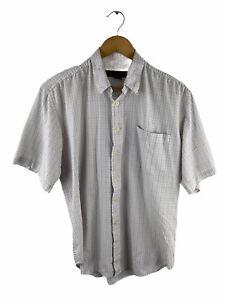 Banana Republic Button Up Shirt Mens Size M White Blue Check Short Sleeve Pocket