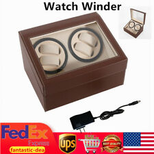 Winding Leather Storage Case Display Box 4+6 Automatic Rotate Watch Winder Self