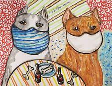 American Pit Bull Terrier Dog Art Print 11x14 Artist Ksams Pitbull in Quarantine