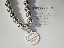 Tiffany & Co Sterling Silver Return to Tiffany Round Tag Bead 8 Inch Bracelet