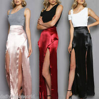 NEW WOMENS LADIES SATIN CELEB DOUBLE FRONT SPLIT LONG JERSEY MAXI DRESS SKIRT HT