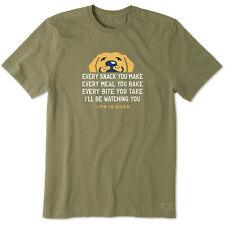 Life Is Good. Mens Crusher Tee I'll Be Watching You, Fatigue Green