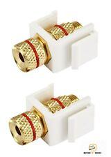2x Banana Plug/Spade/Bare Wire Keystone Jack Screw for Wall Plate White/Red