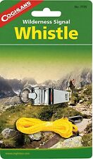 WILDERNESS SIGNAL WHISTLE-METAL WITH LANYARD, INCLUDES MORSE CODE GUIDE AND CODE