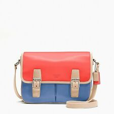 New NWT COACH PARK COLOR BLOCK LEATHER CROSSBODY FLAP F23383 Sv / Red blue multi