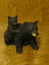 "Castagna Animal Figurines #71N BLACK MAMA BEAR w/ CUB, MADE in ITALY 3.2"" x 3.5"""