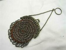 Antique Victorian Hand Beaded Purse Clutch Hand Bag Seed Bead Ornate Finger Ring