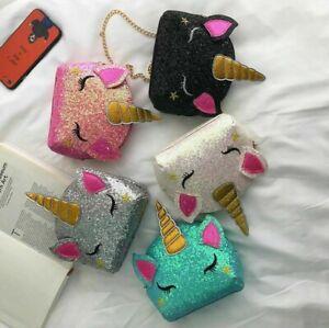 Girls Unicorn Messenger Bag Cartoon Animal Glitter Shoulder Purse Handbag Zipper