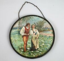 Antique Flu Glass Cover Image Victorian Young Couple Field of Flowers