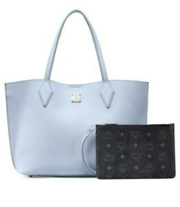 New MCM Yris Baby Blue Leather Tote Shopper Medium Bag & Pouch $650