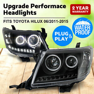 PAIR Headlights Black DRL HALO Projector Angel Eyes Fits Toyota HILUX 2011-2015