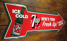 SEVEN UP SODA POP 7 UP HERE'S YOUR FRESH UP SOLD HERE POINTING ARROW METAL SIGN