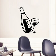 Home Kitchen Black Decal Wine Glass and Bottle Wall Art Vinyl Decal Sticker 1pc