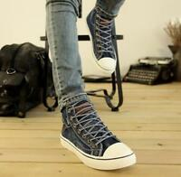 Mens Shoes Canvas Lace Up Sneakers Casual Breathable Flats Trainers High Top U11