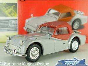 TRIUMPH TR3A MODEL CAR GREY/RED 1:43 SCALE VANGUARDS VA04702 ROADSTER K8