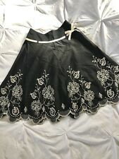 Next Black Cream Embroidered Races Wedding Occasion Skirt.Bow Ribbon. 6 Petite.
