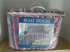"""Boat House King Quilt Comforter Nautical Cotton Stripe Red White Blue 106"""" x 92"""""""