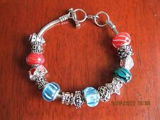Elements of Swarovski Murano Charm Bracelet Red / Green / Blue / Silver