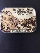 Vintage Stamp Collectors Tin - Philatelic Casket - Victor Bancroft , Matlock