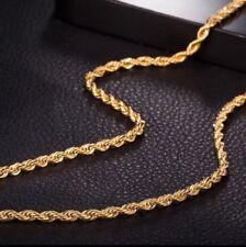 UK 18k Acero Inoxidable Chapado en Oro Cadena De Giro De Cuerda Para Hombres Cadena 24 pulgadas 4mm