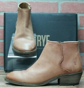 Frye Co 78254 Carson Piping Women Cognac Leather Zip Ankle Boots Size 8.5 M