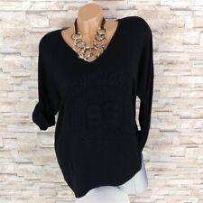 MADE IN ITALY Feinstrick Pullover Shirt 3D Print New York schwarz 40 42 44