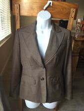 BROWN ANN TAYLOR LOFT PETITES SUIT JACKET