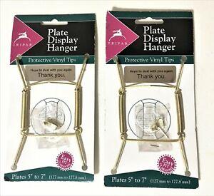 "Plate Display Hanger, 5""-7"" Brass Protective Vinyl Tip TRIPAR (2-packs)"