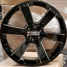 24 GMC Replica Wheels Black Milled Rims Tires Yukon Sierra Chevy Tahoe Silverado